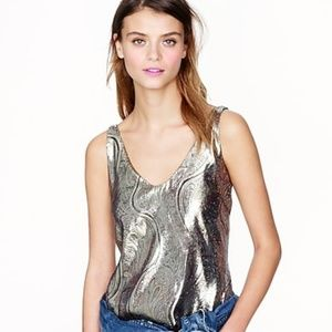 J. Crew Cate Cami Guilded Paisley Tank